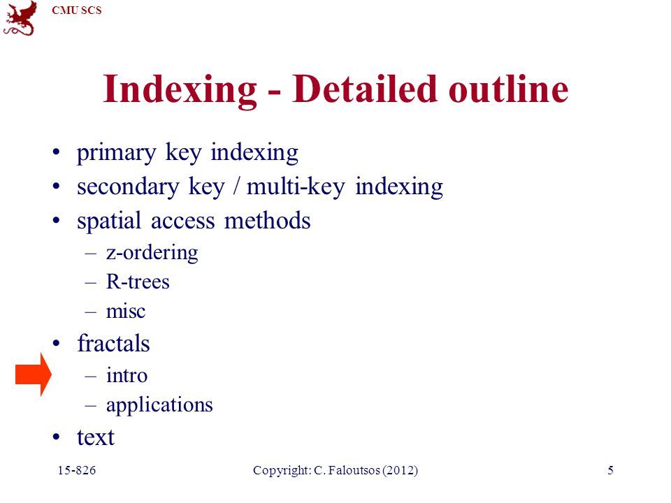 CMU SCS 15-826Copyright: C. Faloutsos (2012)5 Indexing - Detailed outline primary key indexing secondary key / multi-key indexing spatial access metho