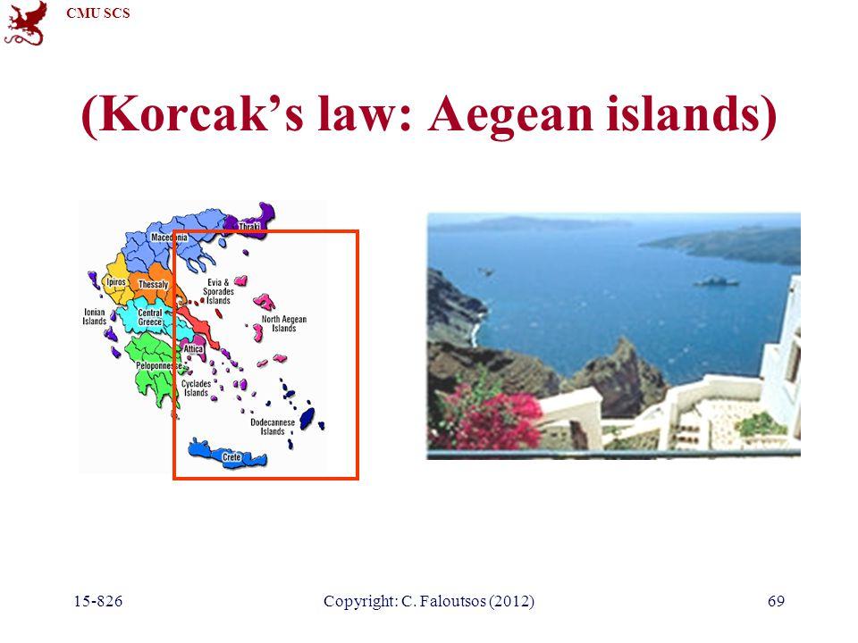 CMU SCS 15-826Copyright: C. Faloutsos (2012)69 (Korcak's law: Aegean islands)
