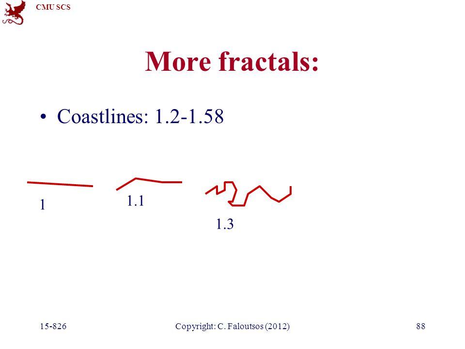 CMU SCS 15-826Copyright: C. Faloutsos (2012)88 More fractals: Coastlines: 1.2-1.58 1 1.1 1.3