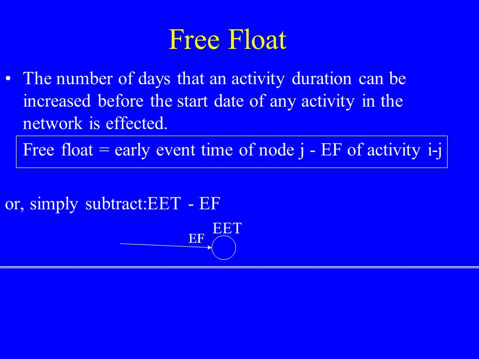 Total float = TF act = LS act -ES act = LF act -EF act 34 40 TF = 6 5 8 6 4 7 405 13 11 15 20 24 16 13 5 0 TF = 0 TF =.