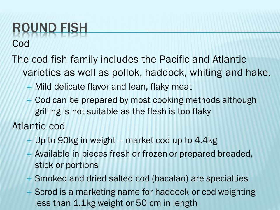 Cod The cod fish family includes the Pacific and Atlantic varieties as well as pollok, haddock, whiting and hake.