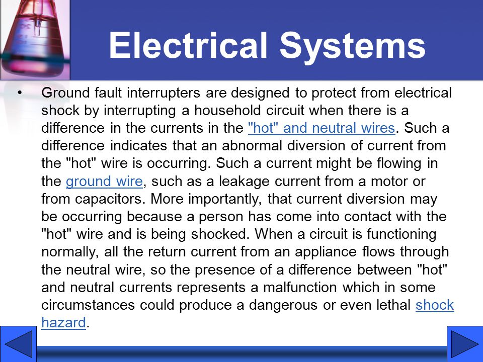 Electrical Systems Ground fault interrupters are designed to protect from electrical shock by interrupting a household circuit when there is a difference in the currents in the hot and neutral wires.