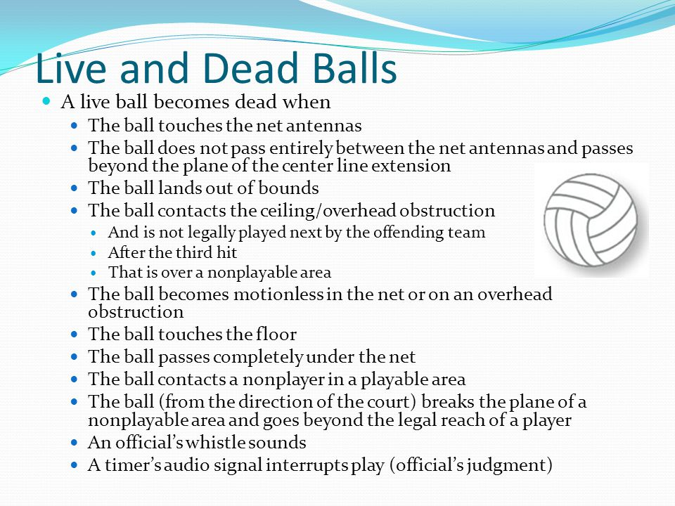 Live and Dead Balls A live ball becomes dead when The ball touches the net antennas The ball does not pass entirely between the net antennas and passes beyond the plane of the center line extension The ball lands out of bounds The ball contacts the ceiling/overhead obstruction And is not legally played next by the offending team After the third hit That is over a nonplayable area The ball becomes motionless in the net or on an overhead obstruction The ball touches the floor The ball passes completely under the net The ball contacts a nonplayer in a playable area The ball (from the direction of the court) breaks the plane of a nonplayable area and goes beyond the legal reach of a player An official's whistle sounds A timer's audio signal interrupts play (official's judgment)