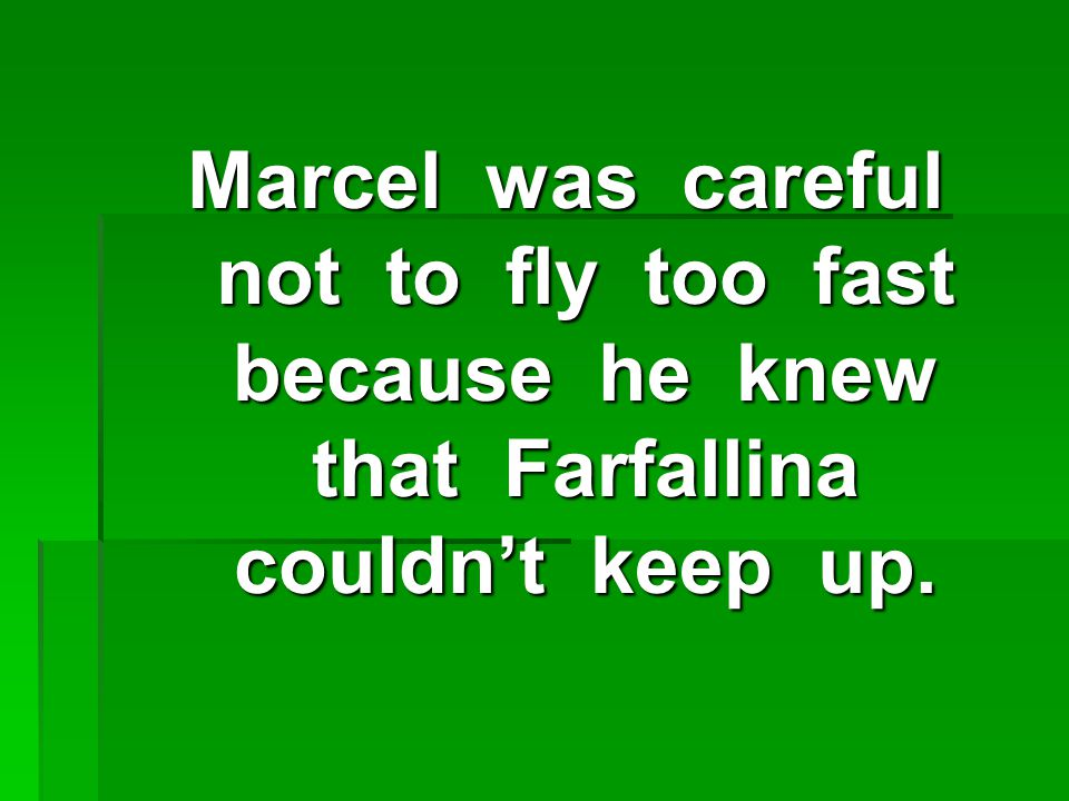 Marcel was careful not to fly too fast because he knew that Farfallina couldn't keep up.