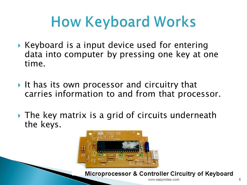  Keyboard is a input device used for entering data into computer by pressing one key at one time.