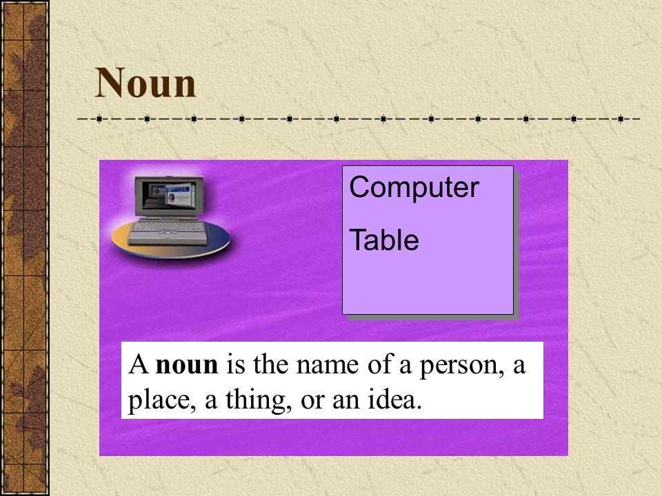 Noun A noun is the name of a person, a place, a thing, or an idea. Computer Table Computer Table