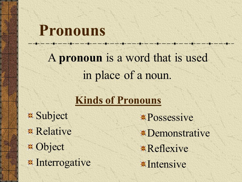 Pronouns Kinds of Pronouns Subject Relative Object Interrogative Possessive Demonstrative Reflexive Intensive A pronoun is a word that is used in plac