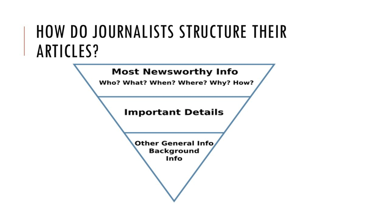HOW DO JOURNALISTS STRUCTURE THEIR ARTICLES?