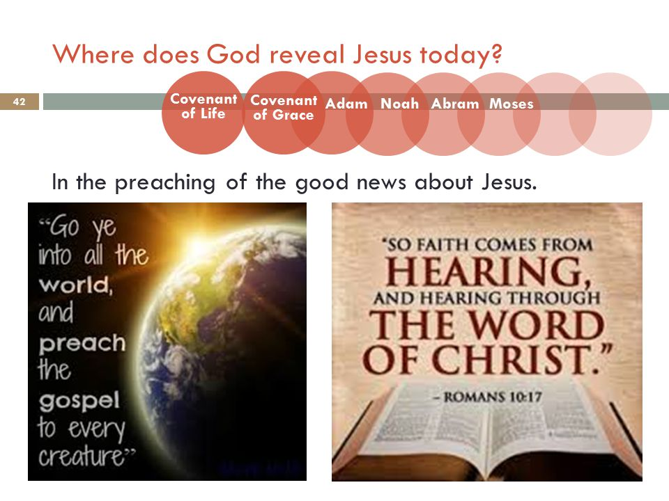 Where does God reveal Jesus today.42 In the preaching of the good news about Jesus.