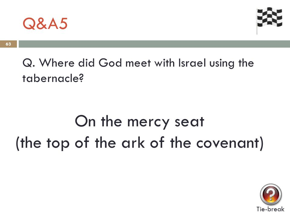 Q&A5 63 Q.Where did God meet with Israel using the tabernacle.