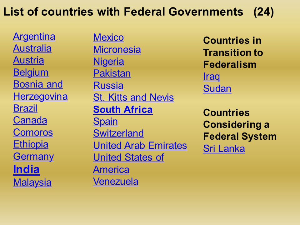 List of countries with Federal Governments (24) Argentina Australia Austria Belgium Bosnia and Herzegovina Brazil Canada Comoros Ethiopia Germany India Malaysia Mexico Micronesia Nigeria Pakistan Russia St.
