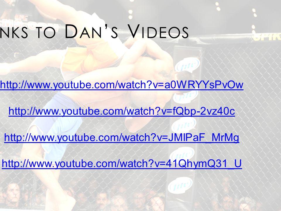 http://www.youtube.com/watch v=a0WRYYsPvOw http://www.youtube.com/watch v=fQbp-2vz40c http://www.youtube.com/watch v=JMlPaF_MrMg http://www.youtube.com/watch v=41QhymQ31_U L INKS TO D AN ' S V IDEOS