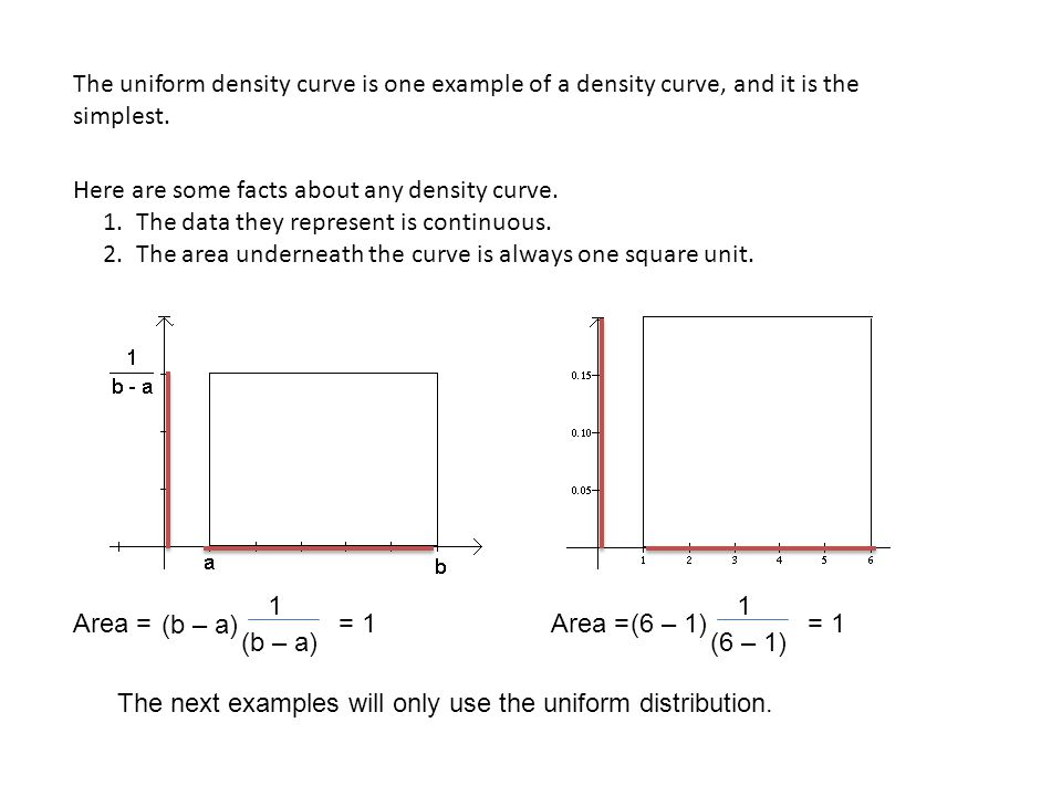The uniform density curve is one example of a density curve, and it is the simplest.