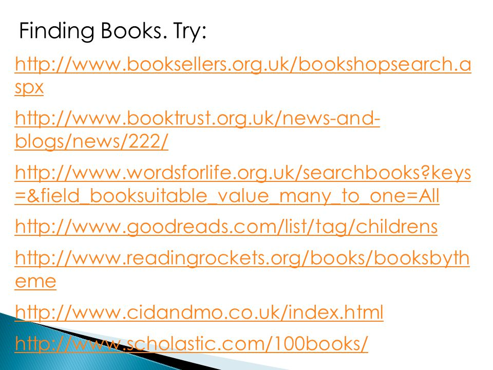 Finding Books. Try: http://www.booksellers.org.uk/bookshopsearch.a spx http://www.booktrust.org.uk/news-and- blogs/news/222/ http://www.wordsforlife.o