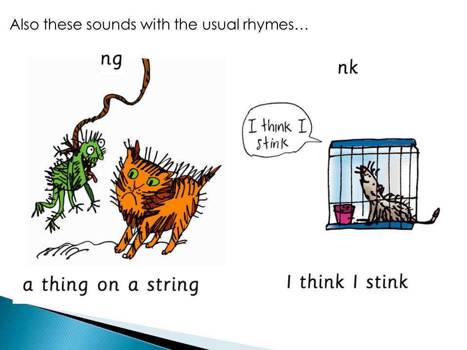 Together the initial letter sounds and these first digraphs make Set 1, the first group of sounds we teach the children.