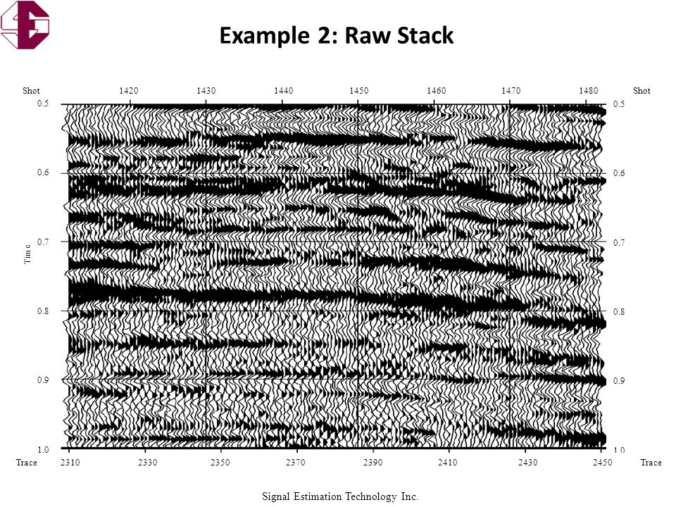 Signal Estimation Technology Inc. Example 2: Raw Stack 0.5 0.6 0.7 0.8 0.9 1.0 0.5 0.6 0.7 0.8 0.9 1.0 Shot 1420 1430 1440 1450 1460 1470 1480Shot Tra