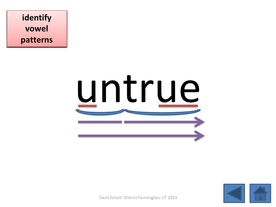 untrue blend together identify vowel patterns blend individual syllables identify vowel patterns blend individual syllables identify vowel patterns Da