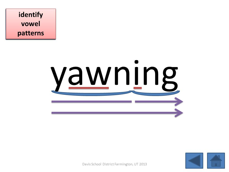 yawning blend together identify vowel patterns blend individual syllables identify vowel patterns blend individual syllables identify vowel patterns D