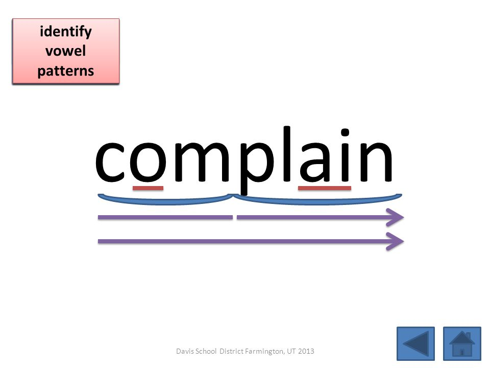 complain blend together identify vowel patterns blend individual syllables identify vowel patterns blend individual syllables identify vowel patterns