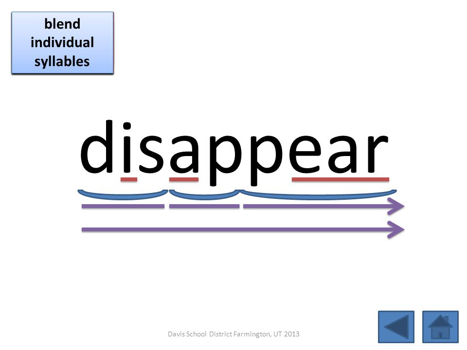 disappear blend together identify vowel patterns blend individual syllables identify vowel patterns blend individual syllables identify vowel patterns