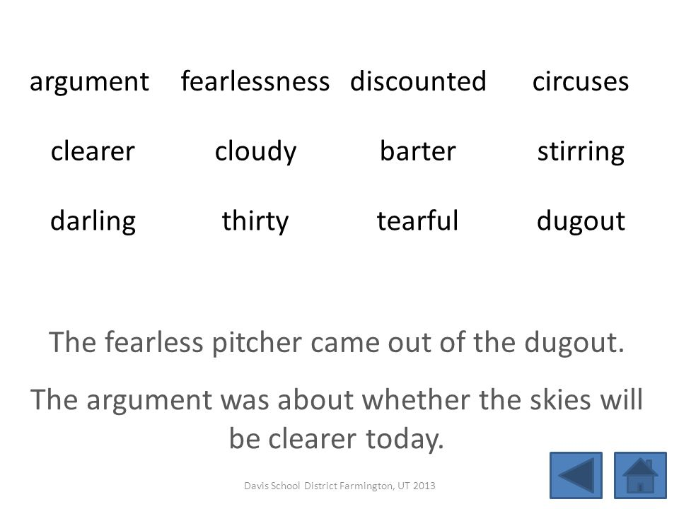 argument fearlessnessdiscountedcircuses clearercloudybarterstirring darlingthirtytearfuldugout The fearless pitcher came out of the dugout. The argume