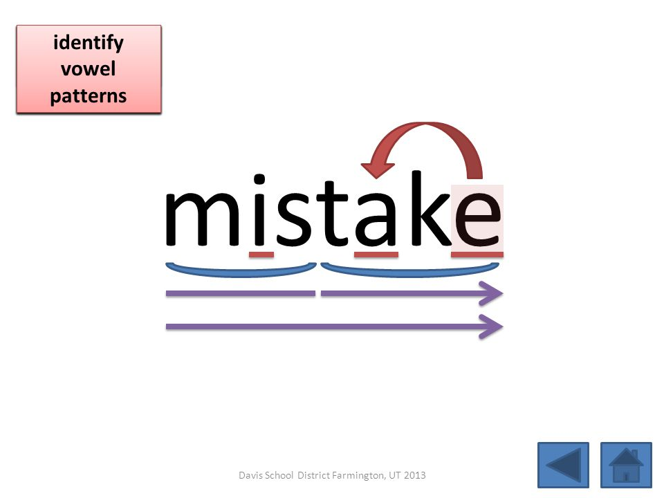 mistake blend together identify vowel patterns blend individual syllables identify vowel patterns blend individual syllables identify vowel patterns D
