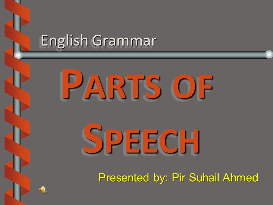 English Grammar P ARTS OF S PEECH Presented by: Pir Suhail Ahmed