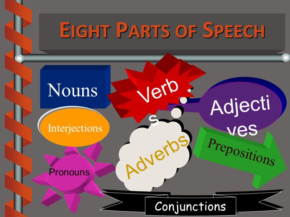 E IGHT P ARTS OF S PEECH Nouns Adjecti ves Pronouns Adverbs Conjunctions Prepositions Verb s Interjections