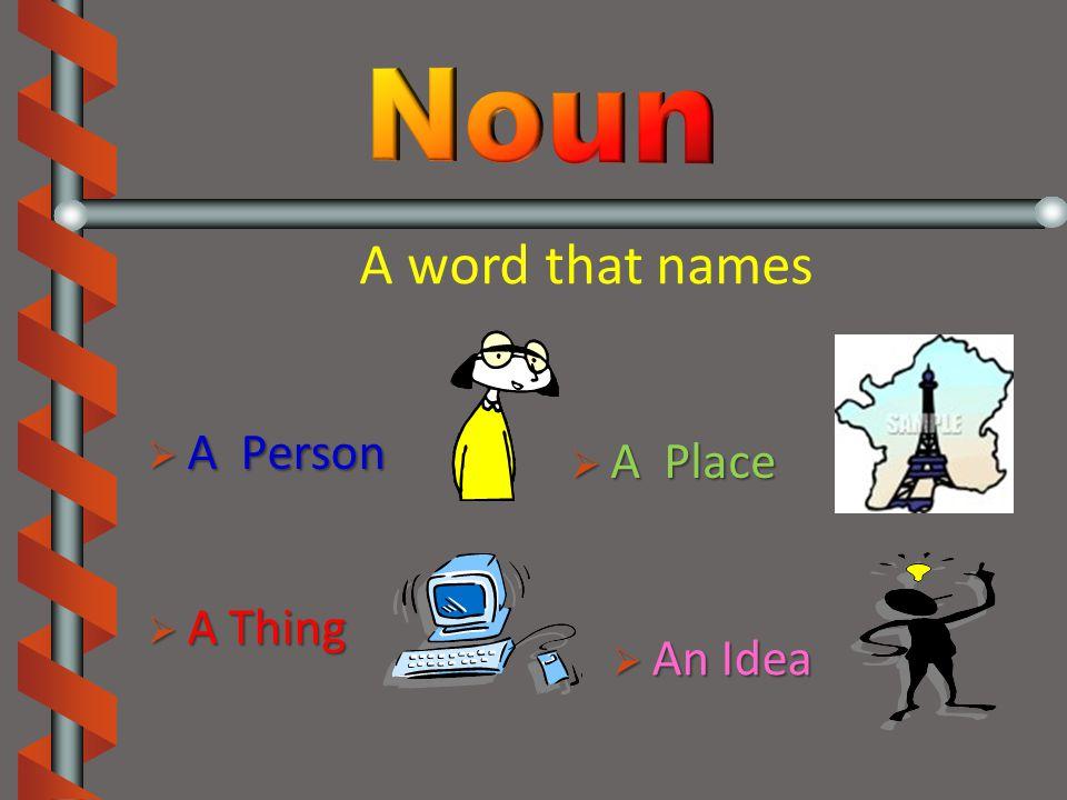  A  A Person  An  An Idea  A  A Thing Place A word that names
