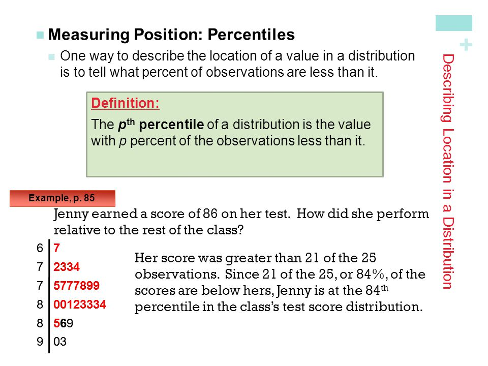 + Looking Ahead… We'll learn about one particularly important class of density curves – the Normal Distributions We'll learn The 68-95-99.7 Rule The Standard Normal Distribution Normal Distribution Calculations, and Assessing Normality In the next Section…