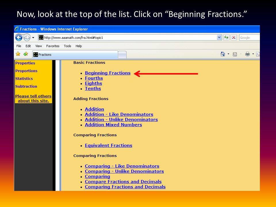 Next, click on the first link, Basic Fractions