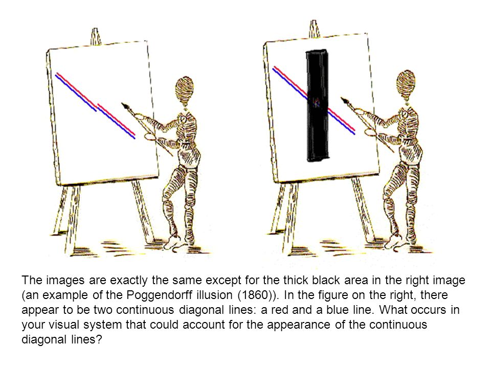 The images are exactly the same except for the thick black area in the right image (an example of the Poggendorff illusion (1860)).