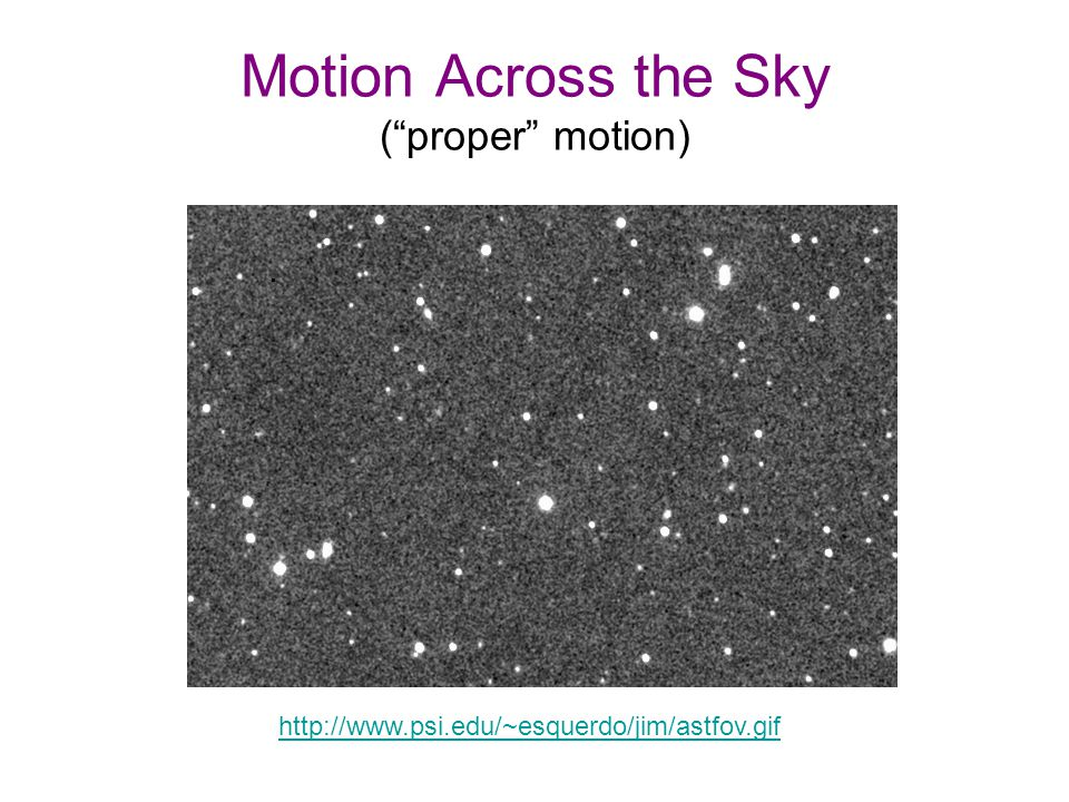 Motion Across the Sky ( proper motion) http://www.psi.edu/~esquerdo/jim/astfov.gif