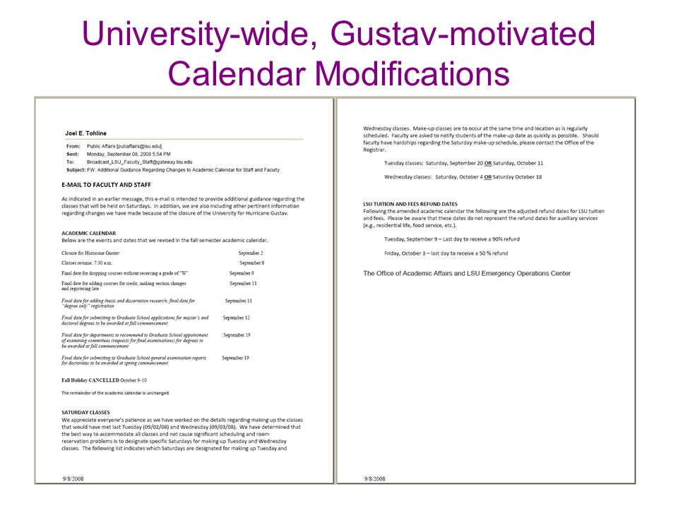 University-wide, Gustav-motivated Calendar Modifications