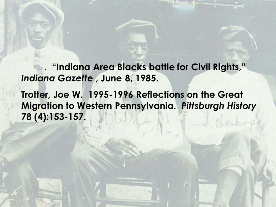 _____. Indiana Area Blacks battle for Civil Rights, Indiana Gazette, June 8, 1985.