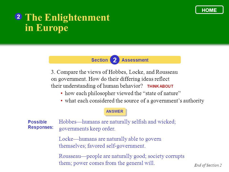 Section The Enlightenment in Europe 2 2 Assessment ANSWER Hobbes—humans are naturally selfish and wicked; governments keep order. Locke—humans are nat