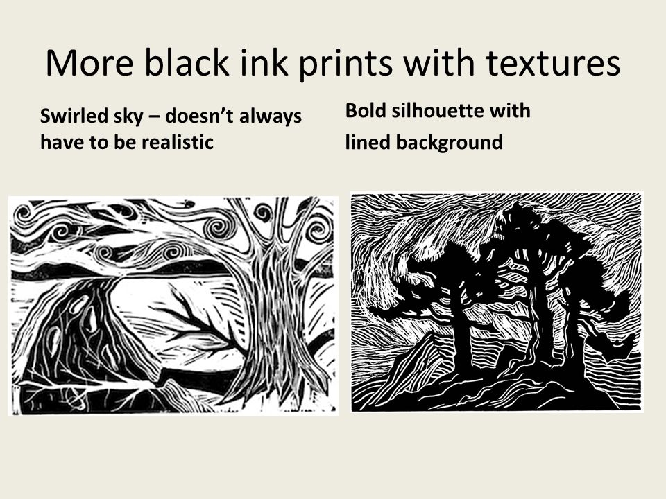 Examples of landscapes printed with black ink, notice the DIFFERENT textures