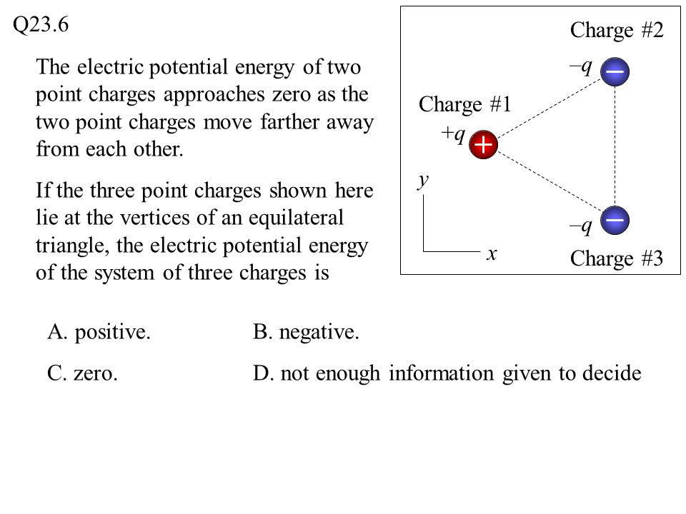A. positive.B. negative. C. zero.D. not enough information given to decide The electric potential energy of two point charges approaches zero as the t