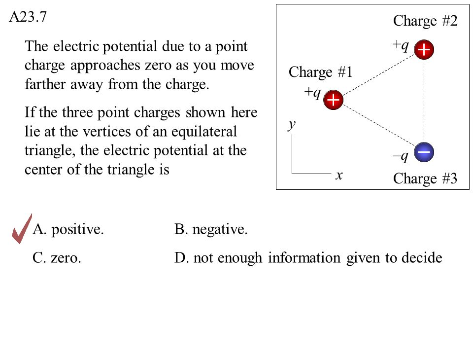 The electric potential due to a point charge approaches zero as you move farther away from the charge. If the three point charges shown here lie at th