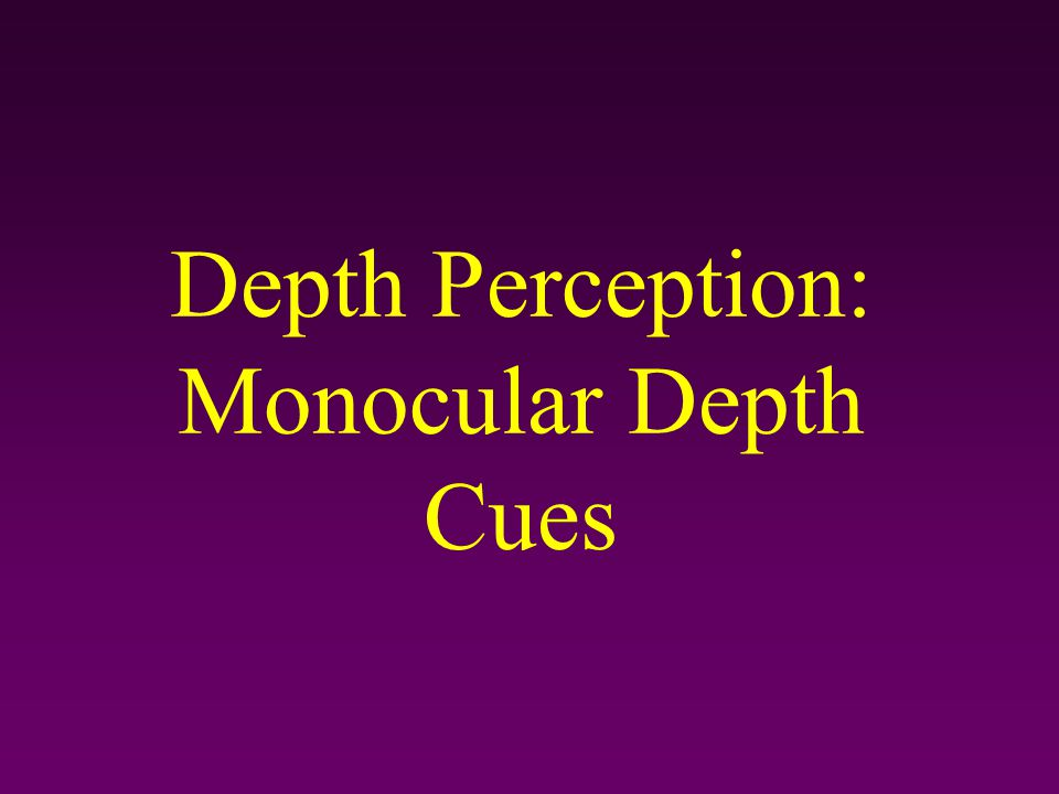 Monocular Depth Cues– Light and Shadow Nearby objects reflect more light into our eyes.