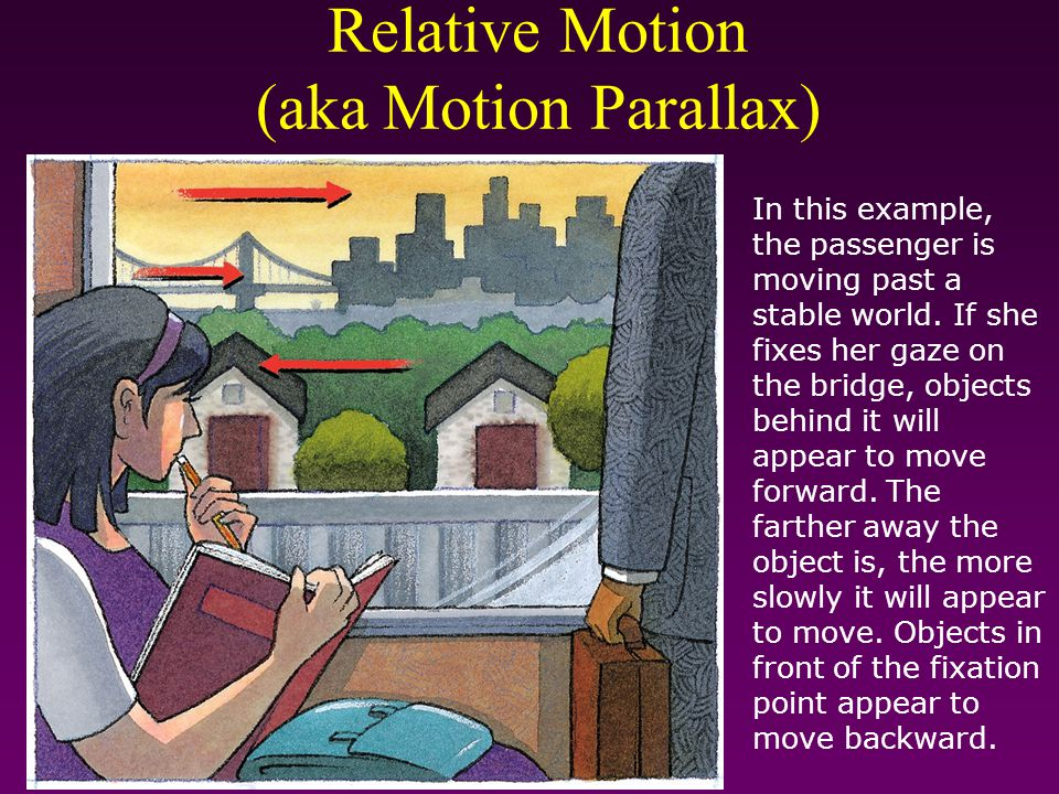 Relative Motion (aka Motion Parallax) In this example, the passenger is moving past a stable world. If she fixes her gaze on the bridge, objects behin