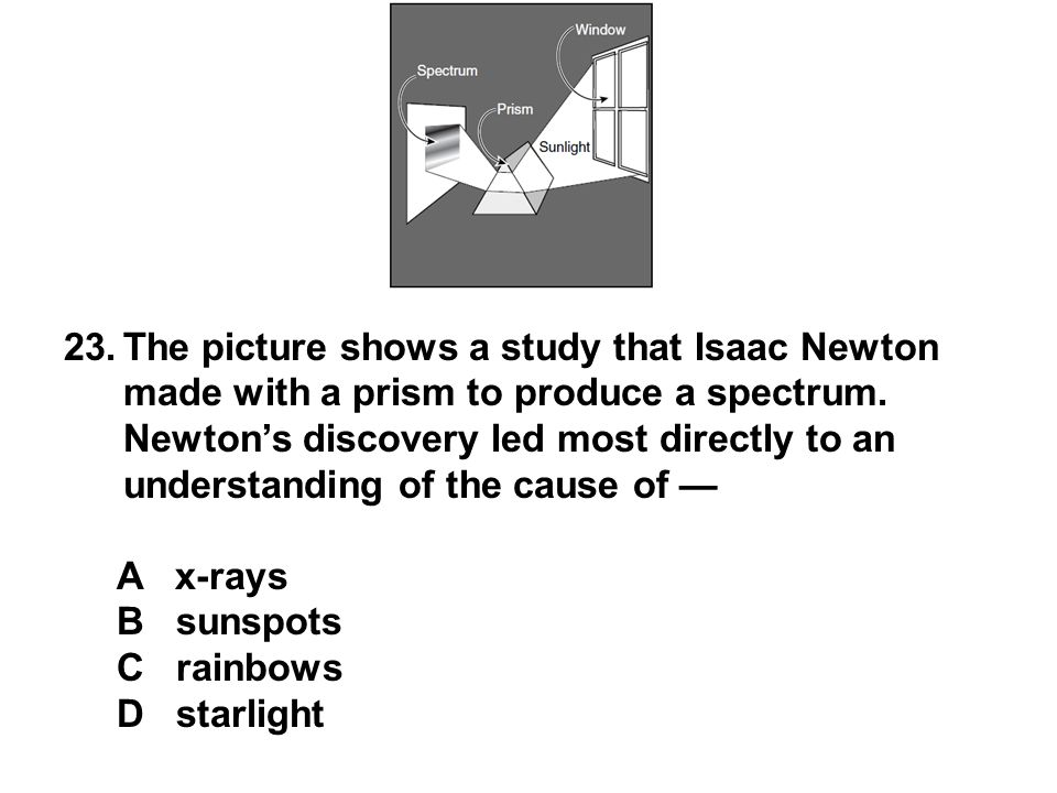 23.The picture shows a study that Isaac Newton made with a prism to produce a spectrum. Newton's discovery led most directly to an understanding of th