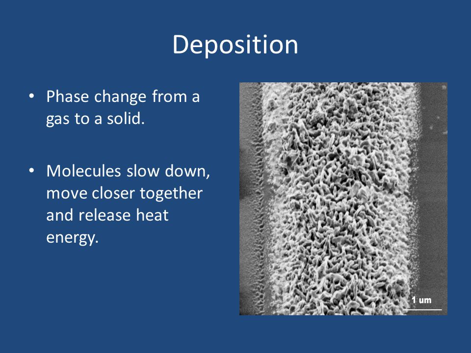 Deposition Phase change from a gas to a solid. Molecules slow down, move closer together and release heat energy.