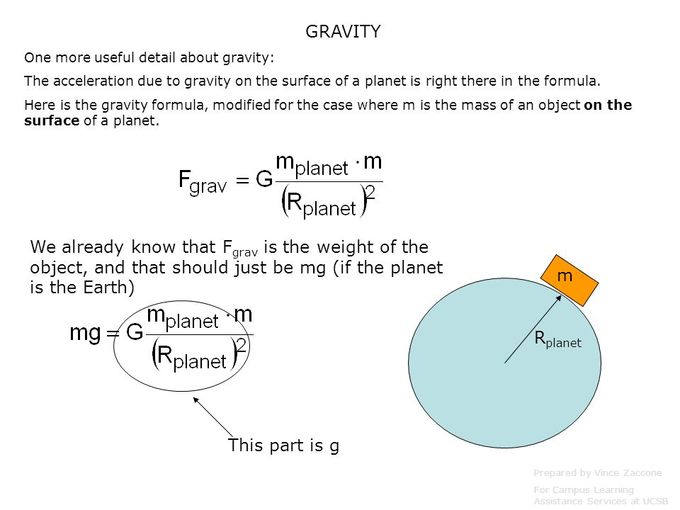 GRAVITY One more useful detail about gravity: The acceleration due to gravity on the surface of a planet is right there in the formula.