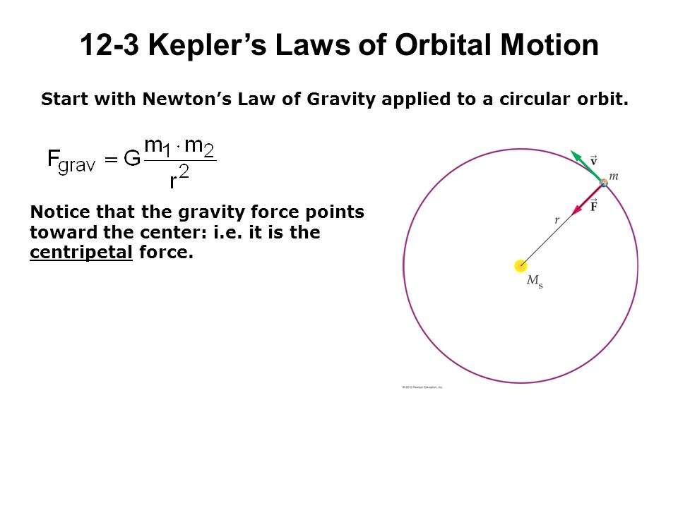 12-3 Kepler's Laws of Orbital Motion Start with Newton's Law of Gravity applied to a circular orbit.