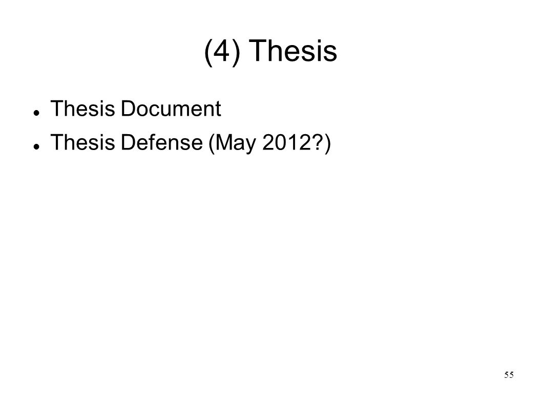55 (4) Thesis Thesis Document Thesis Defense (May 2012?)
