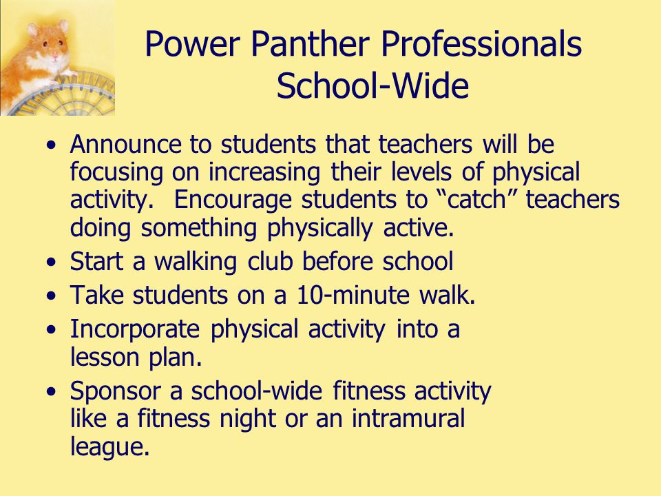 Power Panther Professionals School-Wide Announce to students that teachers will be focusing on increasing their levels of physical activity.