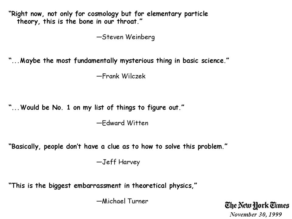 Quotes from Theorists November 30, 1999