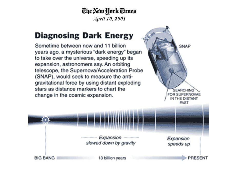 N.Y. Times weighs in on Dark Energy April 10, 2001