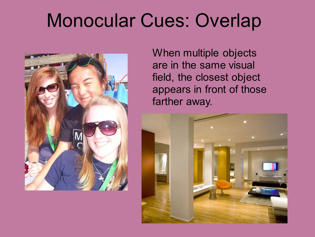 Monocular Cues: Overlap When multiple objects are in the same visual field, the closest object appears in front of those farther away.